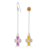 silver chain with yellow and pink clover design earrings