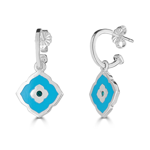 aqua blue and emerald enameled quatrefoil shape charm earrings on hoops