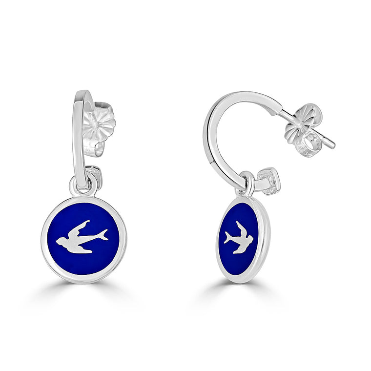 UP IN THE AIR Enameled Charms on Hoop Earrings