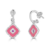 pink Moroccan inspired enamel earring on hoop with pink sapphire center stone accent