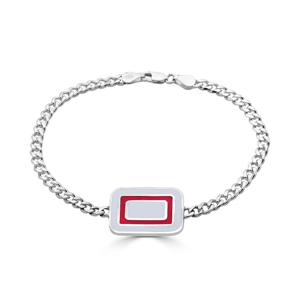 double sided id bracelet with red and white abstract design