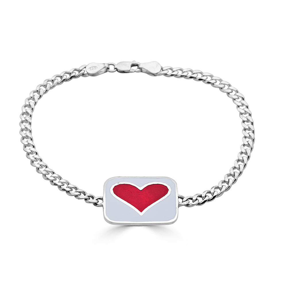 reversible white and red enameled heart id bracelet