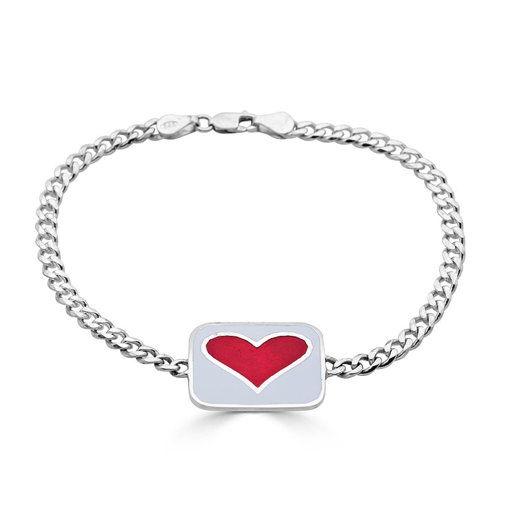 Double Sided Silver ID Bracelet with Enamel Heart Design