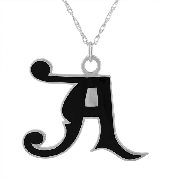 "black enamel and sterling silver initial letter ""A"" pendant necklace"