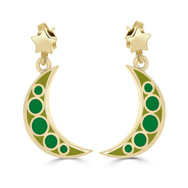 celestial crescent moon and star earrings in 14k gold and green enamel