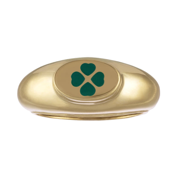 gold signet ring with green enamel shamrock design