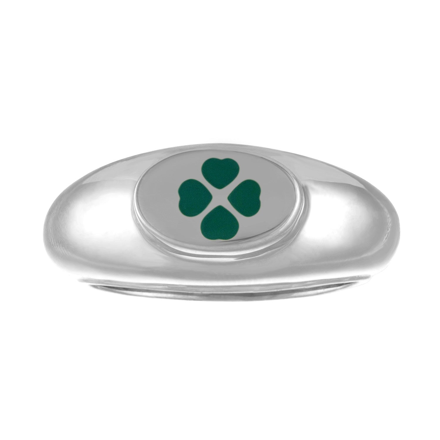 silver signet ring with green enamel four leaf clover design
