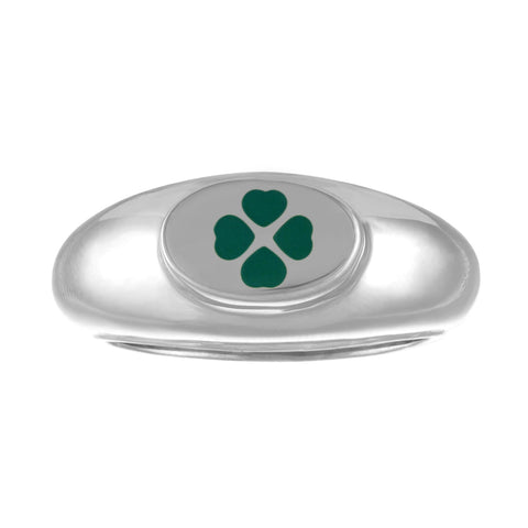 gold lucky four leaf clover design signet ring