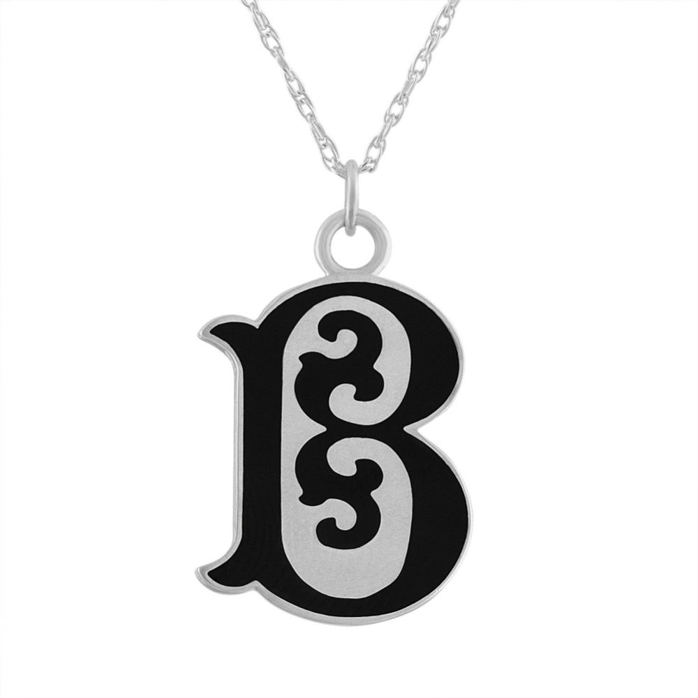 "black enamel and sterling silver initial letter ""B"" pendant necklace"
