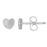 Small baby heart silver post earrings