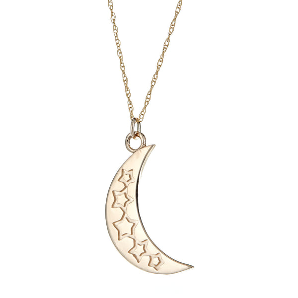 Reversible Large Crescent Moon Enamel Charm Necklace in 14K Gold