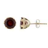 14k gold post earrings with heart detail in garnet