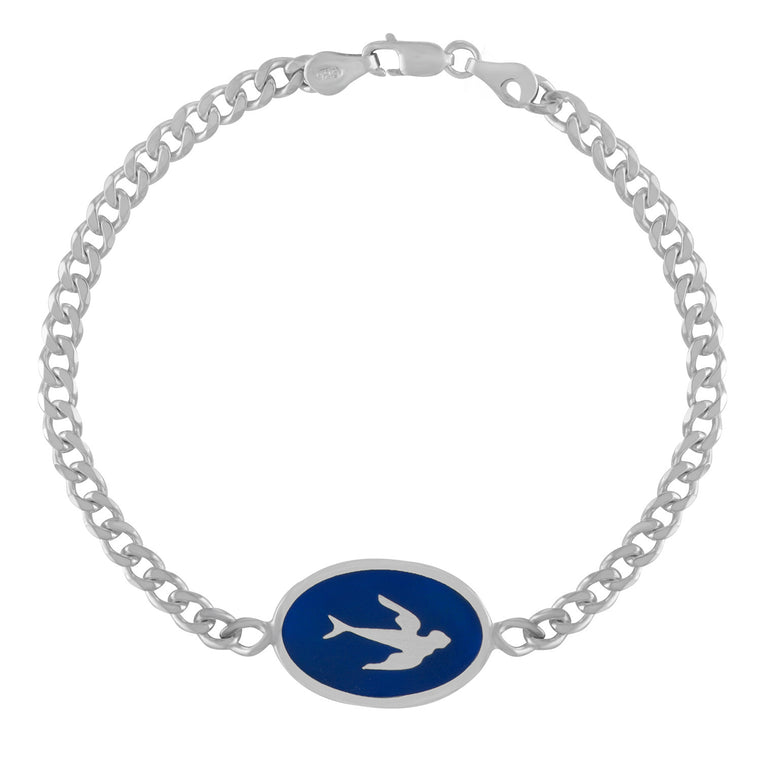 Silver ID Bracelet with Blue Enamel Swallow Design