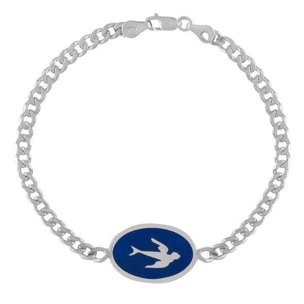 victorian swallow id bracelet in navy blue enamel
