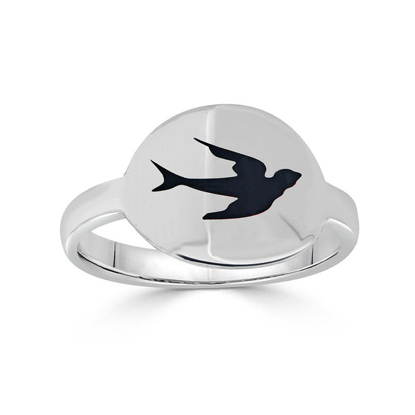 black enamel bird intaglio cigar band ring