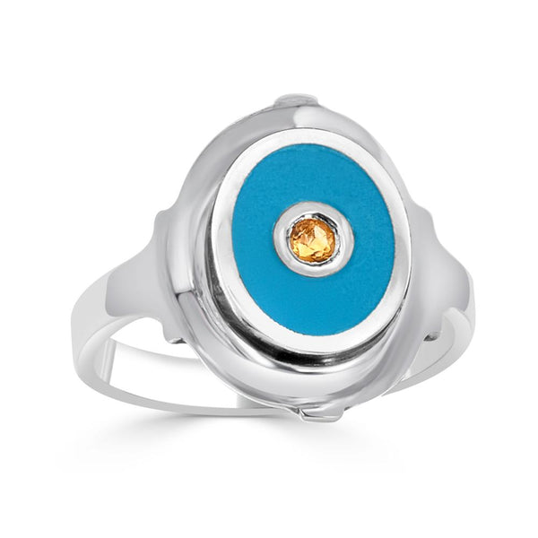 blue enameled cigar band ring with citrine