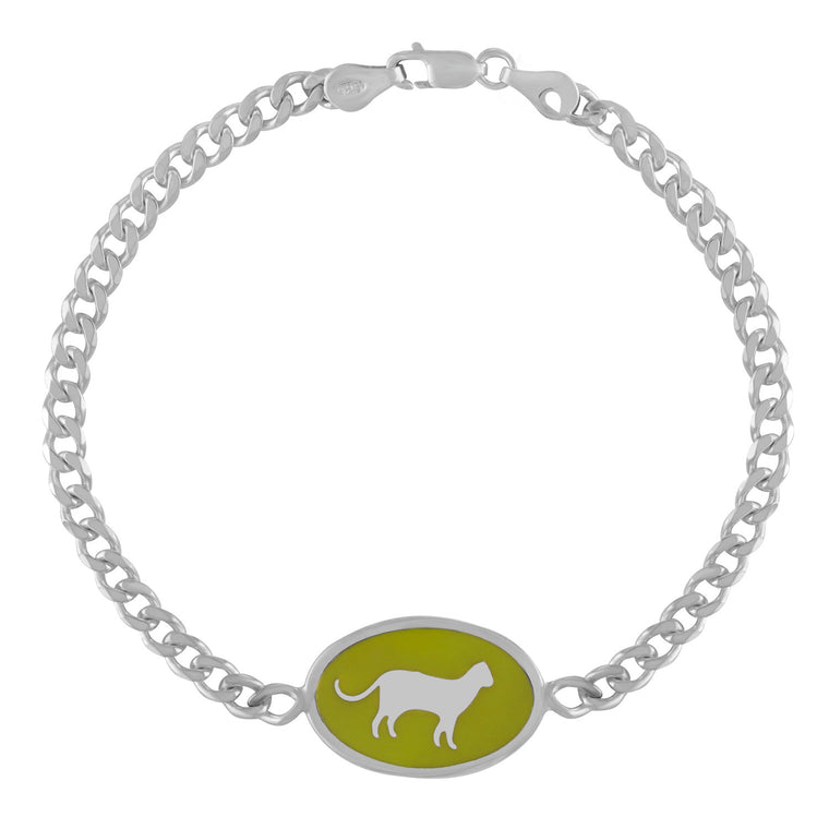 Silver ID Bracelet with Green Enamel Cat Design