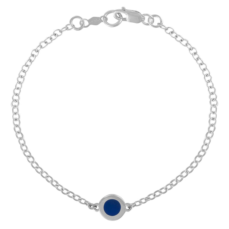 Simple Geometry Chain Bracelet with Blue Enameled Circle Charm