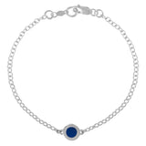 enameled silver and blue delicate chain bracelet