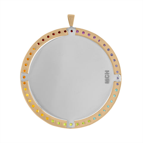 Over the Rainbow Enamel Medallion with Colored Gemstone Halo