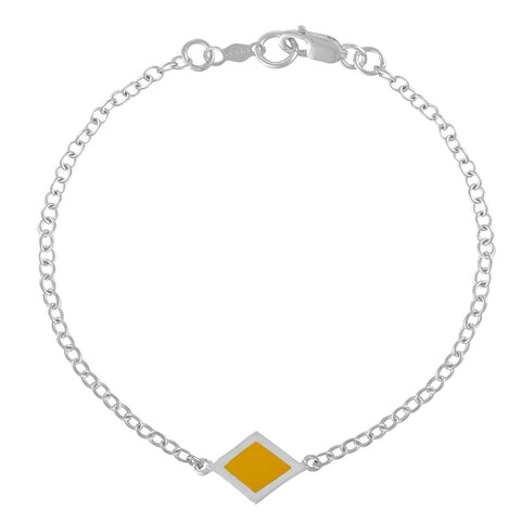 Simple Geometry Chain Bracelet with Yellow Enameled Diamond Charm