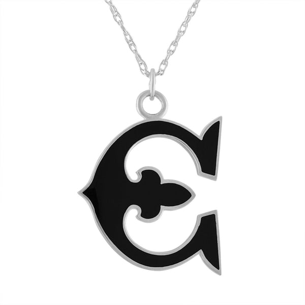 "black enamel and sterling silver initial letter ""E"" pendant necklace"