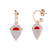 14k gold shield shaped earring with red and white enamel