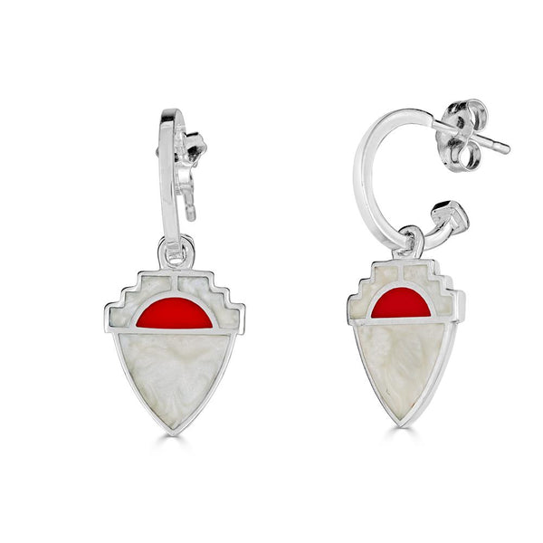 white pearl and red enamel sterling silver shield earrings