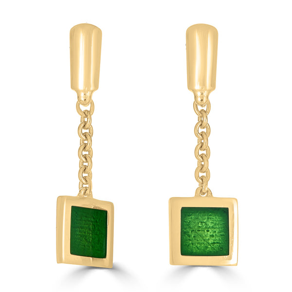 gold emerald green transparent enameled charm earrings