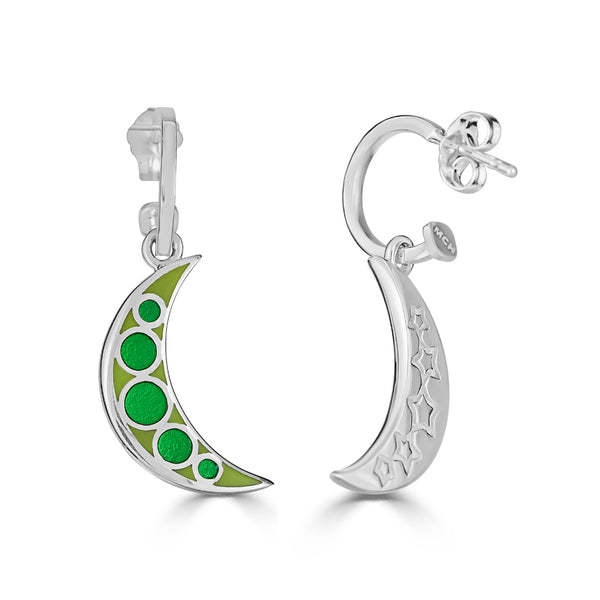 green enameled moon and stars hoops earrings