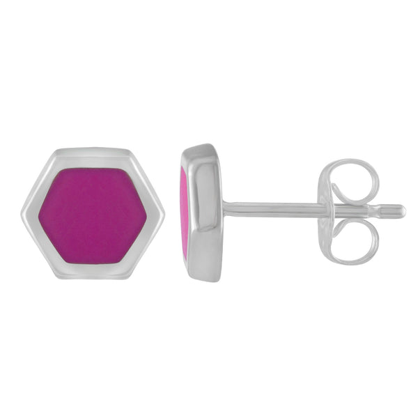 silver and pink enameled hexagon stud earrings