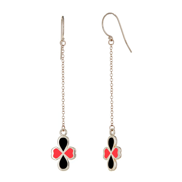 14k gold black and red enamel clover shaped charms on chain earrings