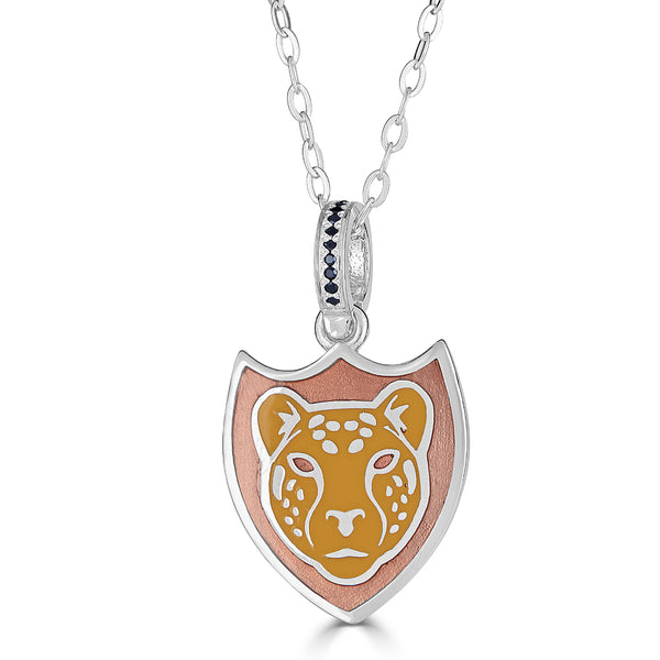 onyx bail with two toned orange enamel leopard face pendant necklace