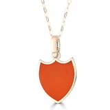 reversible shield pendant in orange enamel in 14k gold