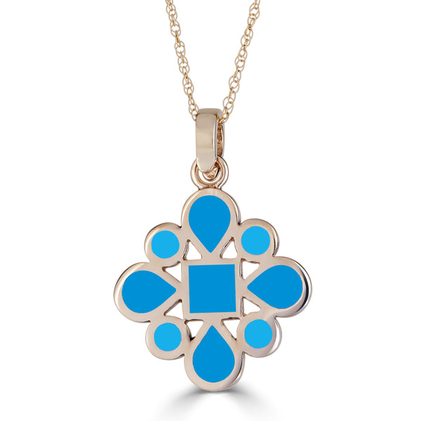 blue enameled reversible pendant with diamond bail