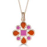 pink and orange enameled reversible pendant with diamond bail