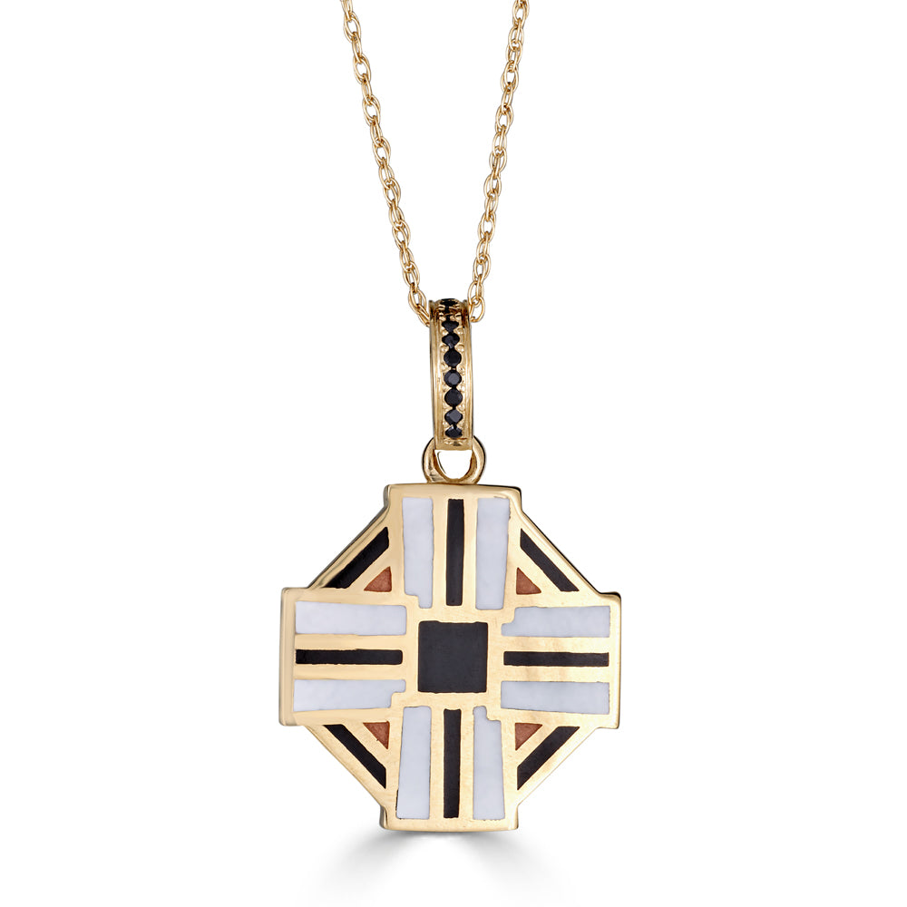 black white and orange enameled Maltese cross necklace