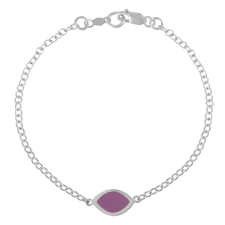 Simple Geometry Chain Bracelet with Purple Enameled Marquis Charm