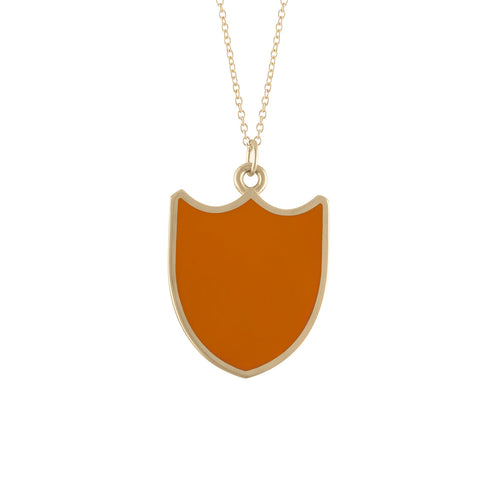 red enameled shield shape dove pendant necklace in 14k gold