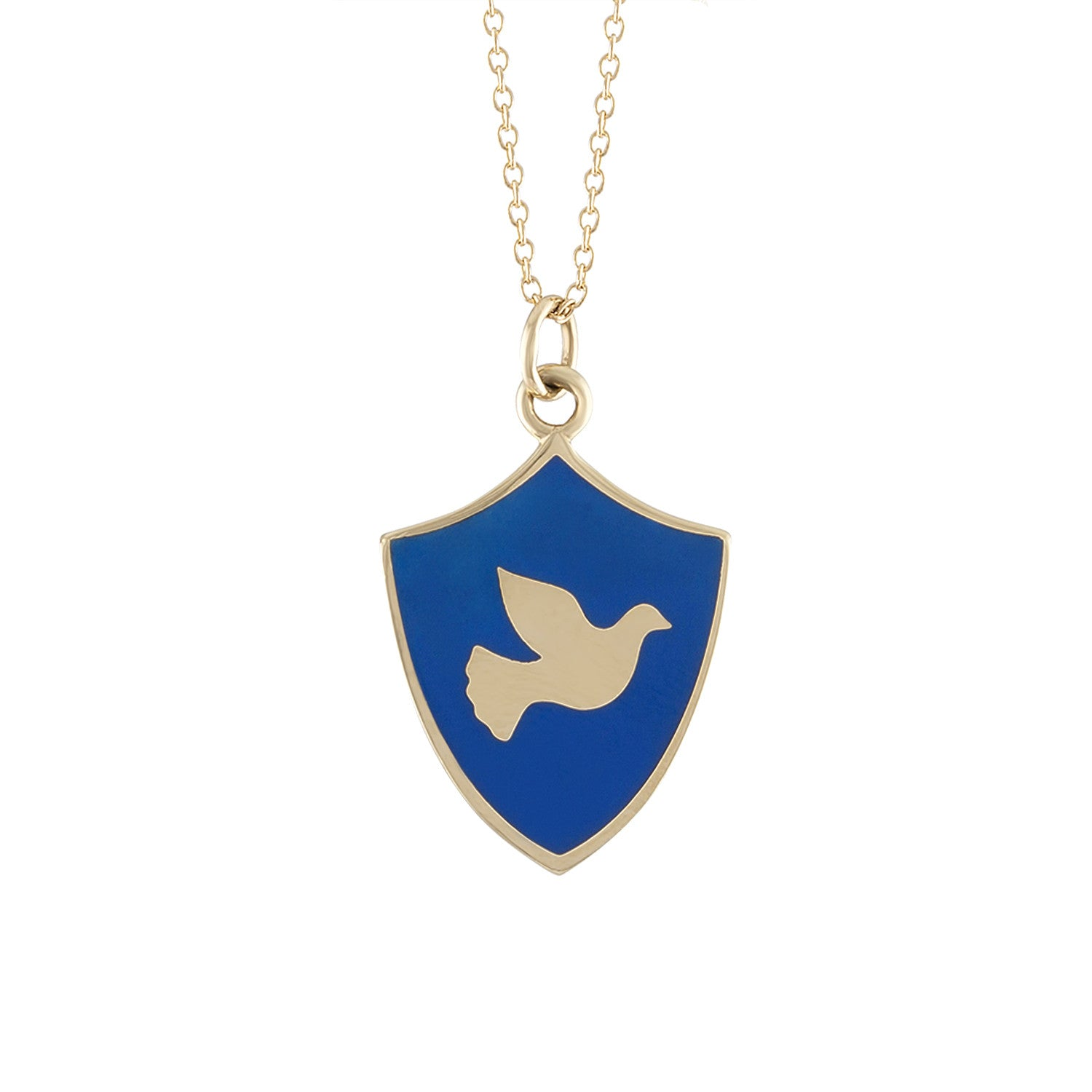 14k gold mini dove shield charm necklace in blue enamel