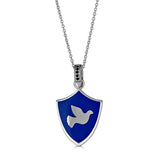 blue enamel shield-shaped necklace with onyx bail and peace dove