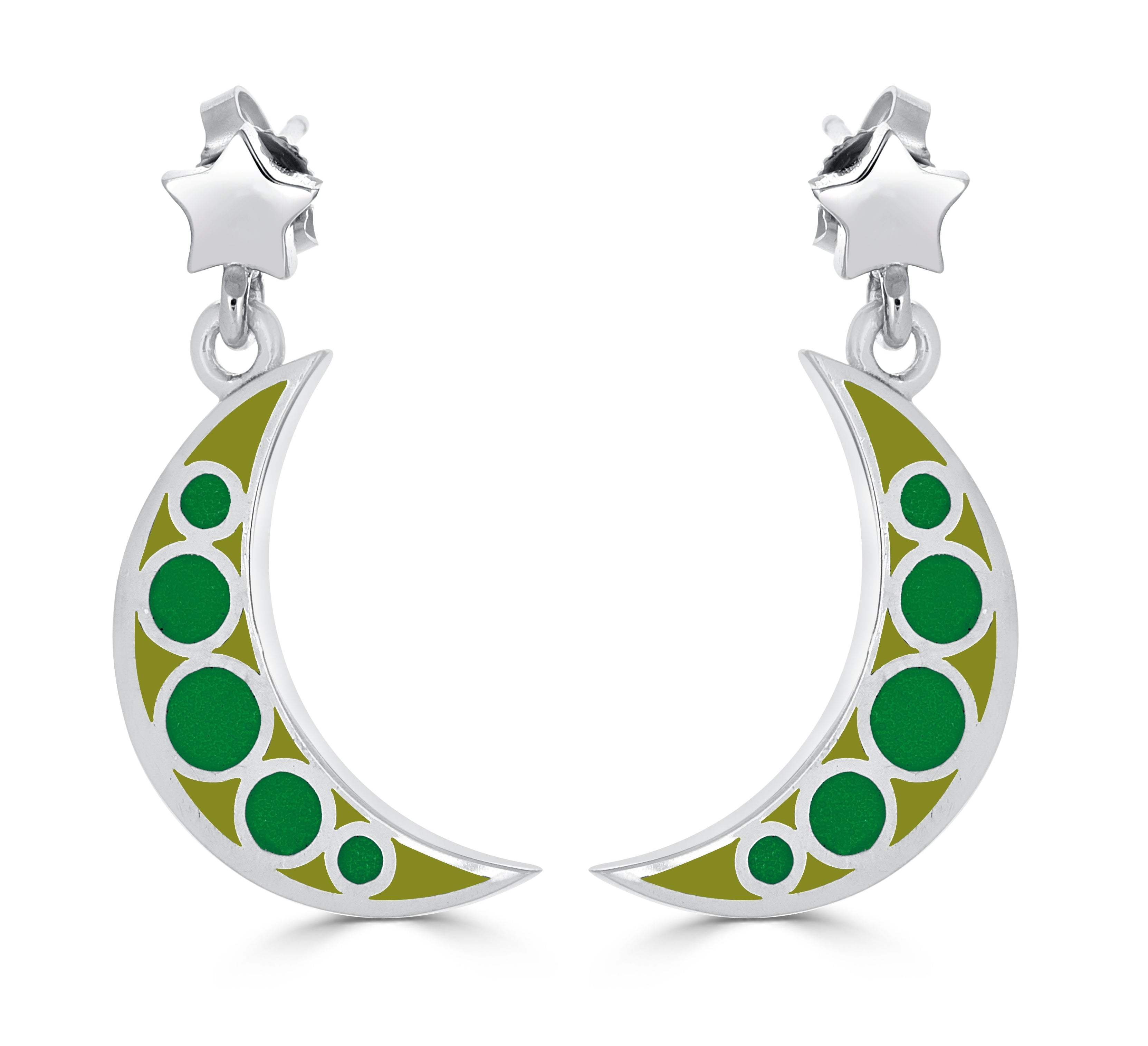 silver and green enamel moon and star earrings
