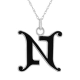 "black enamel and sterling silver initial letter ""N"" pendant necklace"
