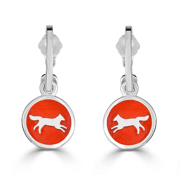 Silver fox charms enameled in orange on hoop earrings