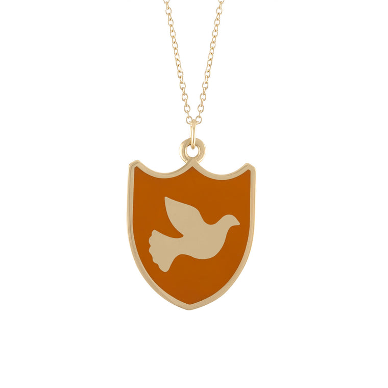 Double-sided Medium Size Peace Dove Charm Necklace in 14K Gold