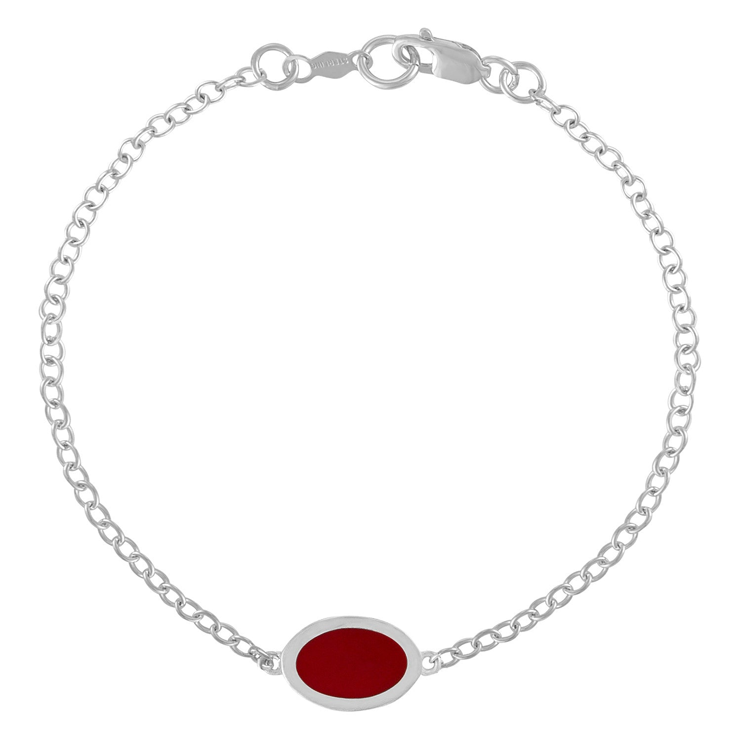 oval red enameled charm on delicate chain bracelet