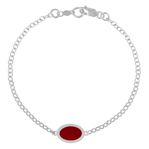Simple Geometry Chain Bracelet with Red Enameled Oval Charm