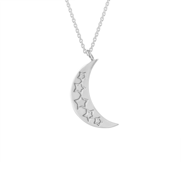 double sided etched star and moon silver necklace pendant