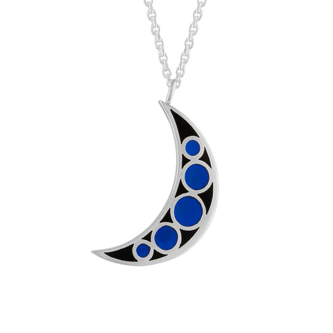 Reversible Silver Crescent Moon Enamel Charm Necklace Pendant