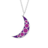 purple enamel moon charm reversible necklace pendant